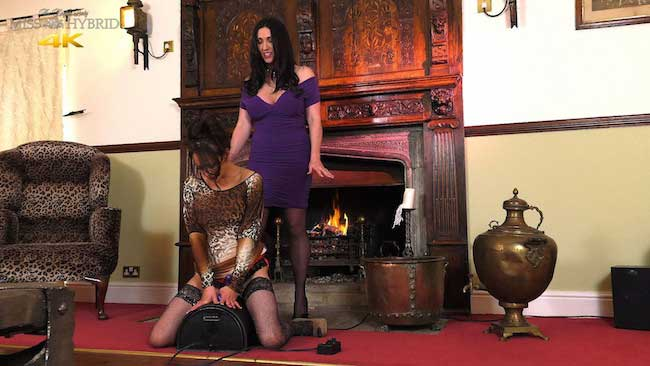 Vickie first Sybian ride stockings and tits out with miss Hybrid at the controls.