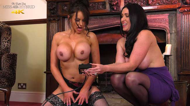 Vickie first Sybian ride in sexy lingerie stockings and high heels.