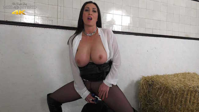 Big tits leather dress and ripped pantyhose Miss Hybrid rides her Magic Wand.