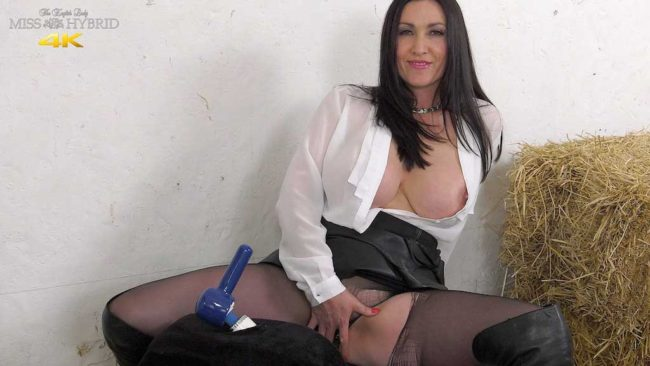 Big tits leather dress and thigh boots Miss Hybrid in the stables.