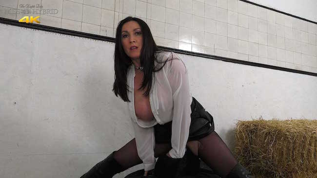Big tits leather dress and ripped pantyhose Miss Hybrid in the stables.