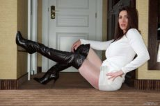 Mistress Miss Hybrid thigh boots and nylons.