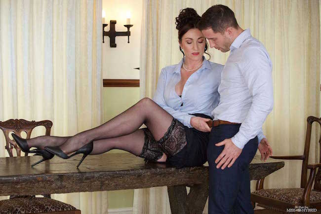 Miss Hybrid personal intimate assistance stockings and high heels tit wank and han job on the castle table