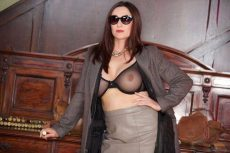 Miss Hybrid sexy leather boots and nylons, short leather skirt and huge tts.